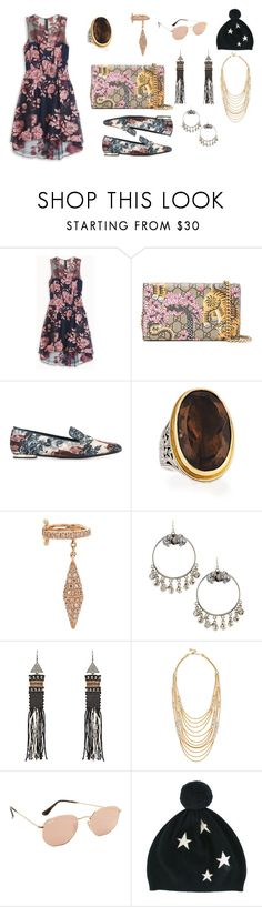 """Trendy 👀"" by jamuna-kaalla ❤ liked on Polyvore featuring Notte by Marchesa, Gucci, Burberry, Konstantino, Elise Dray, Lydell NYC, Zeus+Dione, Ben-Amun, Ray-Ban and Chinti and Parker"