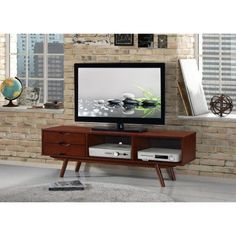 Techni Mobili Elegant Wood Veneer 65 Inch TV Stand With Storage, Walnut,  Brown