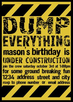 PRINTABLE Construction Invitation by BelvaJune on Etsy