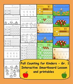 Fall counting for Kinders - Gr 1 Interactive Smartboard Lesson and Printables Smart Board Activities, Smart Board Lessons, Counting Activities, Teaching First Grade, First Grade Math, Student Learning, Grade 1, Kindergarten Lessons, Math Lessons
