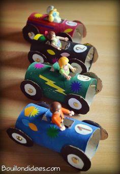 DIY enfant récup : Voiture de course avec rouleau en carton - Idées conseils et tuto Activité manuelle enfant