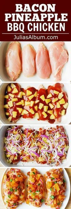 Bacon Pineapple BBQ Chicken Bake with Red Onions and Mozzare.- Bacon Pineapple BBQ Chicken Bake with Red Onions and Mozzarella Cheese - I Love Food, Good Food, Yummy Food, Cooking Recipes, Healthy Recipes, Cheap Recipes, Fast Recipes, Potluck Recipes Best, Baked Dinner Recipes