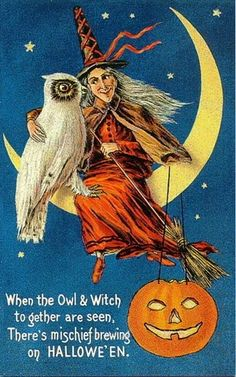 ~Halloween A whole directory of printables! witch and owl on Halloween Retro Halloween, Vintage Halloween Cards, Vintage Holiday, Halloween Crafts, Happy Halloween, Halloween Rhymes, Holiday Crafts, Halloween Decorations, Pumpkin Decorations