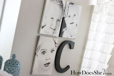 We could do this with baby's first initial or family photos with first letter of family name