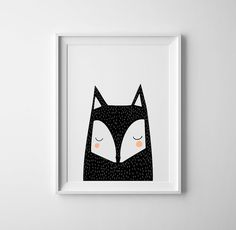 Nursery art and prints, nursery black fox art, baby art peek a boo. Scandinavian childrens room art, boys room, baby boys, baby girls, art