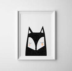 Nursery art and prints, nursery black fox art, baby art peek a boo. Scandinavian childrens room art, boys room, baby boys, baby girls, art