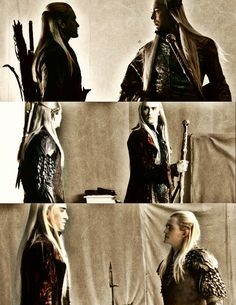 Thranduil and Legolas (Side note: It's funny how Lee Pace is actually younger than Orlando Bloom.) But who cares! Can't wait to see more of Thranduil!