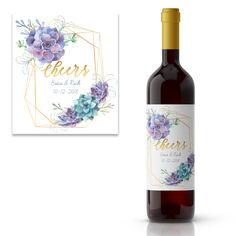$3.75 for one label - $5.94 for six labels. Geometric shape with succulents wedding wine label.  Personalize the label with your info. Self-adhesive and waterproof.