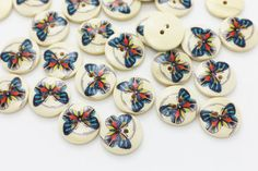 10 Butterfly Wood Button Coat Button by boysenberryaccessory