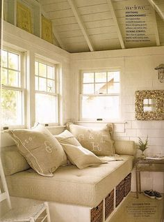 day bed with storage,pillows. Be nice to have somewhere in the house for a get away, or to do homework, or read.