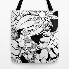 Floral Freak Doodle Art Tote Bag by Heidi Denney - $22.00