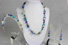 Schmuck-Set Polaris facettierte Glas Elemente Edelstahl Collier Set Turquoise Necklace, Beaded Necklace, Shop, Ebay, Jewelry, Necklaces, Faceted Glass, Stainless Steel, Watches