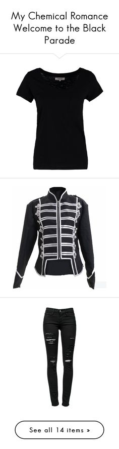 """""""My Chemical Romance Welcome to the Black Parade"""" by cheyenneprice98 ❤ liked on Polyvore featuring tops, t-shirts, black, print tees, crewneck tee, crew neck t shirt, women tops, black t shirt, jackets and lullabies"""