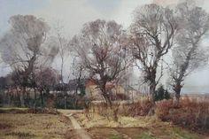 王绍波 / Wang Shaobo (b. 54 х 36 сm. Watercolor Mixing, Watercolor Landscape Paintings, Watercolor Artists, Artist Painting, Floral Watercolor, Art Aquarelle, Tree Sketches, Beauty In Art, Cityscape Art