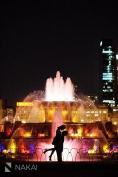 Chicago Fall + Night Engagement Photos - Buckingham Fountain + Millennium Park! Cherlie + David! | Chicago Destination Wedding Photographer - Nakai Photography Blog