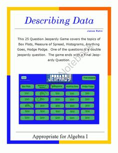 Algebra I Smartboard Jeopardy Game - Quadratic Equations and Functions from jamesrahn on ...