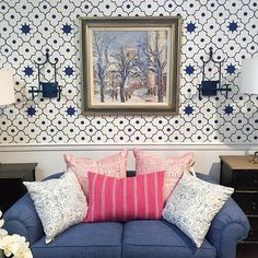 Love your showroom Monday Inspiration, Design Inspiration, Snorkel Blue, White Houses, Color Combinations, Showroom, Condo, Family Room, Gallery Wall