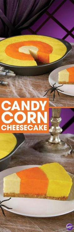 Candy Corn Cheesecake Recipe - It's the best of both worlds. A delicious cheesecake made to resemble Halloween candy corn. The magic begins with the Wilton Checkerboard Cake Pan. It allows three different color batters to be baked at the same time. The results, a look of candy corn with the rich taste of cheesecake. Perfect for your Halloween party! by veronicawasp