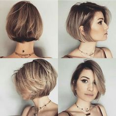 "It can not be repeated enough, bob is one of the most versatile looks ever. We wear with style the French ""bob"", a classic that gives your appearance a little je-ne-sais-quoi. Here is ""bob"" Despite its unpretentious… Continue Reading → Easy Short Haircuts, Cute Bob Haircuts, Bob Hairstyles For Fine Hair, Layered Bob Hairstyles, Girl Haircuts, Pixie Hairstyles, Trendy Hairstyles, Short Hair Cuts, Short Hair Styles"
