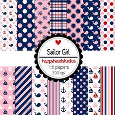 Nautical, Girl, Pink,Navy, Whales, Sailboats