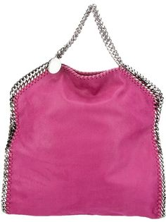 Pink faux-leather Falabella bag from Stella McCartney featuring a concealed magnetic press stud fastening, a silver-tone chain handle with a designer embossed silver-tone disk and white whipstitched silver-tone chain side seam details.