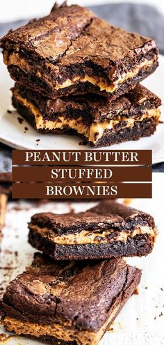 Peanut Butter Stuffed Brownies are chewy, fudgy chocolate brownies stuffed with a thick layer of peanut butter for the best treat. Easy, homemade, from-scratch recipe - no boxed mix here! The best dessert idea for a crowd too! Strawberry Desserts, Easy Desserts, Delicious Desserts, Dessert Recipes, Dessert Bars, Bar Recipes, Sweet Desserts, Dessert Ideas, Keto Recipes