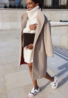 Street style white turtleneck sweater dress and long beige coat with new  balance sneakers in winter minimalistic outfit 02fb21360f03d