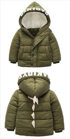 Cute Unisex Toddler Dinosaur Hooded Down Sweater Warm Winter Outerwear Green
