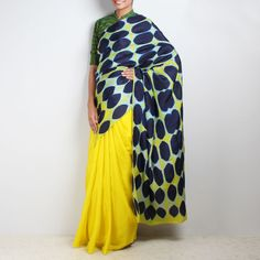 Navy Blue and Yellow Shibori Saree  #sari #sari #black #ethnic #indianethnic #indiansaree #indiansari