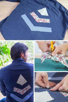 Cómo customizar una camisa con patchwork ➜ Decora una camisa básica con retales de tela y hazla única ;)  #Camisa #Customizar #Tela #Ropa #DIY #Manualidades #Patchwork