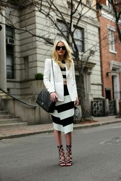 Awesome striped look: black and white via Atlantic-Pacific