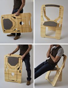 25 Folding Furniture Designs for Saving Space This may look like a shield or something more technological. But this is just a fancy folding chair with pads for seating down and your back. Also, it's really portable. Folding Furniture, Smart Furniture, Space Saving Furniture, Folding Chair, Unique Furniture, Furniture Design, Furniture Ideas, Furniture Stores, Furniture Outlet