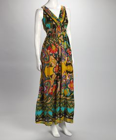 Yellow Geometric Floral Surplice Maxi Dress