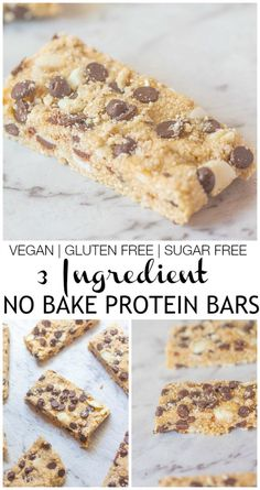 3 Ingredient No Bake Protein Bars- These healthy bars take less than 5 minutes to whip up and are perfectly customisable- #vegan #glutenfree #dairyfree #sugarfree and the perfect snack requiring no refrigeration! thebigmansworld.com @thebigmansworld