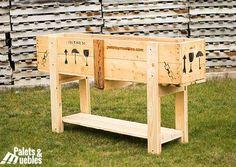 Huerto Urbano, fabricado con cajones reciclados procedentes del sector industrial, aprovechando el cajón original hemos pensado ................