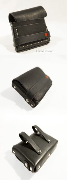 Leather Black Pouch Bag by Leon Litinsky