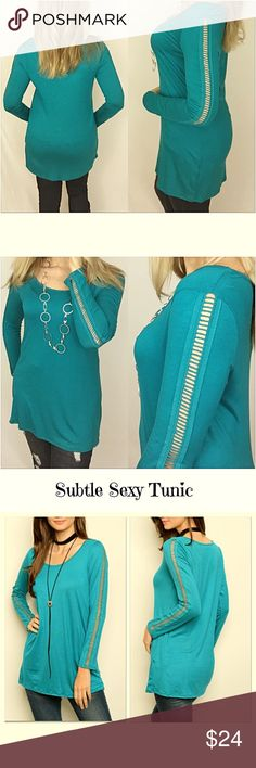 """Cut Out Long Sleeved Tee Tunic Teal SML Gorgeous pop of color - gorgeous cutout sleeve detail!  Pair this teal tunic with leggings or your favorite jeans!  Features: Sexy cutout detail on long sleeves Soft, stretchy rayon/spandex mix Scoop neck jersey tunic length  Small 2/4 Bust 32-34 Length 29"""" Medium 6/8 Bust 34-36 Length 29.5"""" Large 10/12 Bust 36-38 Length 30"""" Tops Tees - Long Sleeve"""