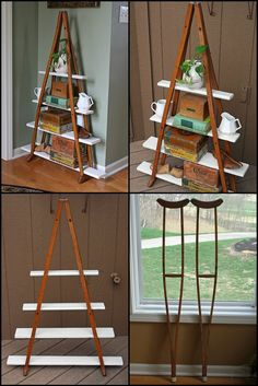 How To Build A Shelf From Old Wooden Crutches  http://theownerbuildernetwork.co/19m1  Have you come across a pair of old wooden crutches? Mamie Jane has a great idea to upcycle them! She used a pair to make a shelf!  Thumbs up for Mamie Jane?
