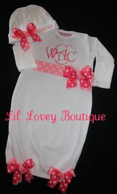 Precious In Pink...Custom 2PC. Newborn Layette Set For Her Homecoming Or Baby Gift