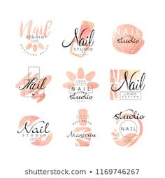 Manicure nail studio logo design set, creative templates for nail bar, beauty saloon, manicurist technician vector Illustrations on a white background - Buy this stock vector and explore similar vectors at Adobe Stock Nail Salon Design, Home Nail Salon, Nail Salon Decor, Salon Interior Design, Logo Studio, Nail Studio, Web Design, Logo Design, Design Set
