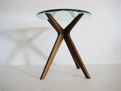 "Mid Century inspired side table 20"" inch or 24"" inch glass top"