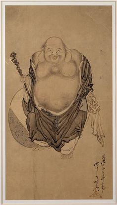 Hotei, one of the patriarchs of the Zen Buddhist sect.  Kyōsai Kawanabe (1831-1889). 1876. Ink, color ink, paint. Japan.