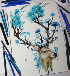Deer Video on my chanel link in bio - - - - - - - - #art #arte #desenho #color #colorful #draw #drawing #illustration #illustratenow #illustrationart #arrtposts #mizu_art #artsbeautifulx #artoftheday #desenh4ndo #watercolor #aquarela #watercolorpainting #watercolorist #artistic_manor #artistic_u #art_conquest #proartists #blue #pencilsacademy #deer #sketch #artwork #arts_help #myart