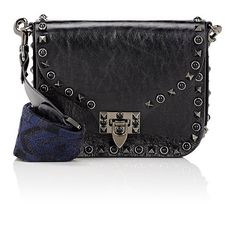 Valentino Women's Rockstud Rolling Small Shoulder Bag ($2,695) ❤ liked on Polyvore featuring bags, handbags, shoulder bags, black, shoulder bag purse, embellished handbags, genuine leather handbags, shoulder strap handbags and genuine leather purse