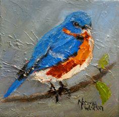 Norma's Daily Paintings: Norma Wilson Original Oil Blue Bird Aviary Painting