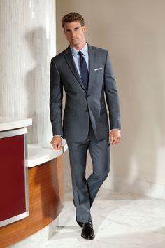 men's suit / Slim Fit Medium Blue Sharkskin Suit l #menswear