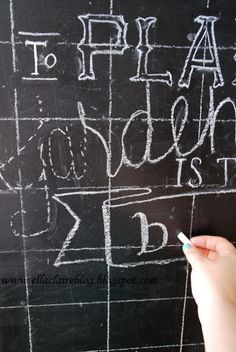 How to write on a chalkboard. Genius and simple! -  We will need this in the new office kitchen!! @Christina & Banks@Traci H - Ok so they really take their time but still good concept.