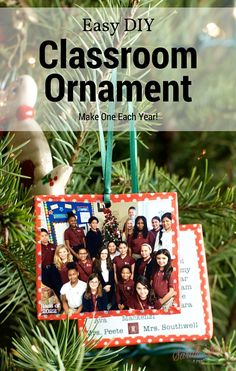 DIY Classroom Photo Christmas Ornament. So easy you can create one each year. By the time your child graduates they will have a lovely collection of ornaments.