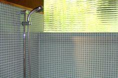 Glass Mosaic Tiles & GROHE Shower Fixture