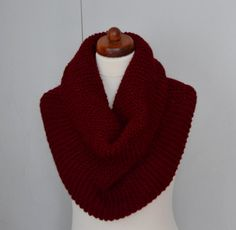 Hand Knit Infinity Scarf Womens winter cowl scarf Scarf by Sizana Winter Accessories, Handmade Accessories, Scarf Design, Cowl Scarf, Maroon Color, Cold Day, Neck Warmer, Hand Knitting, Infinity
